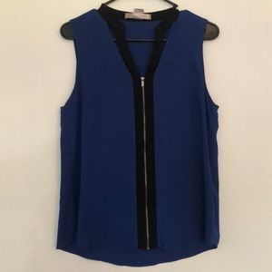 Blue zipper blouse